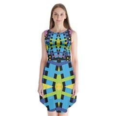 Stars And Stripes Purple Blue Yellow Green Black Sleeveless Chiffon Dress