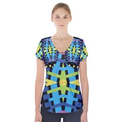 Stars And Stripes Purple Blue Yellow Green Black Short Sleeve Front Detail Top