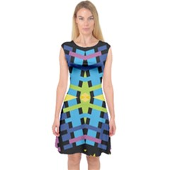 Stars And Stripes Purple Blue Yellow Green Black Capsleeve Midi Dress