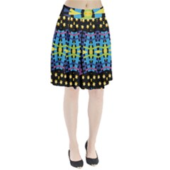 Stars And Stripes Purple Blue Yellow Green Black Pleated Skirt