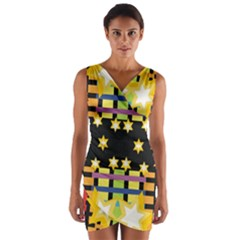 Stars And Stripes Red Orange Black Green Blue Wrap Front Bodycon Dress