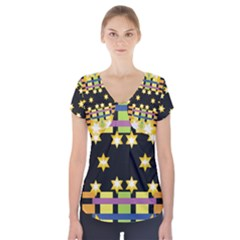 Stars And Stripes Red Orange Black Green Blue Short Sleeve Front Detail Top