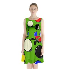 Billiard  Sleeveless Chiffon Waist Tie Dress