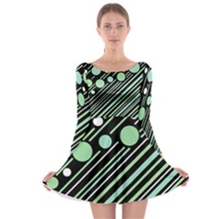 Green transformaton Long Sleeve Skater Dress