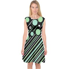 Green transformaton Capsleeve Midi Dress