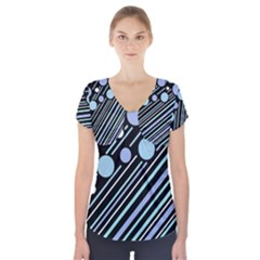Blue transformation Short Sleeve Front Detail Top