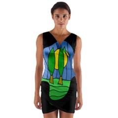 Landscape Wrap Front Bodycon Dress