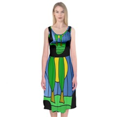 Landscape Midi Sleeveless Dress