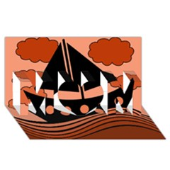 Boat - red MOM 3D Greeting Card (8x4)