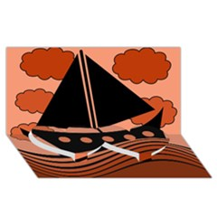 Boat - red Twin Heart Bottom 3D Greeting Card (8x4)