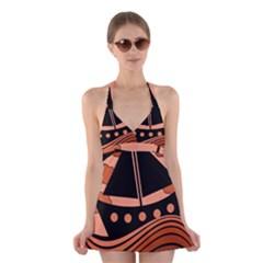 Boat - red Halter Swimsuit Dress