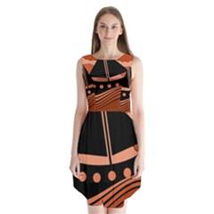 Boat - red Sleeveless Chiffon Dress