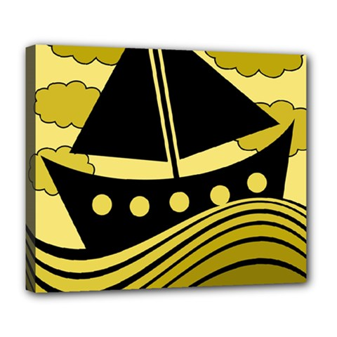 Boat - yellow Deluxe Canvas 24  x 20