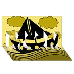 Boat - yellow MOM 3D Greeting Card (8x4)