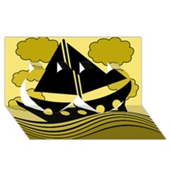 Boat - yellow Twin Hearts 3D Greeting Card (8x4)