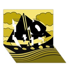 Boat - yellow LOVE 3D Greeting Card (7x5)