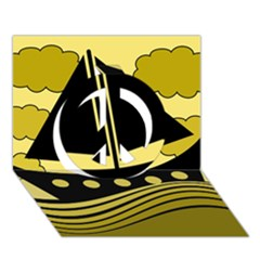 Boat - yellow Peace Sign 3D Greeting Card (7x5)