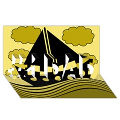 Boat - yellow #1 DAD 3D Greeting Card (8x4)