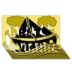 Boat - yellow Best Wish 3D Greeting Card (8x4)