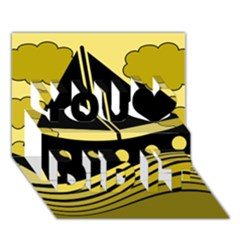 Boat - yellow You Did It 3D Greeting Card (7x5)