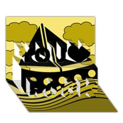 Boat - yellow You Rock 3D Greeting Card (7x5)