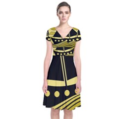 Boat - yellow Short Sleeve Front Wrap Dress