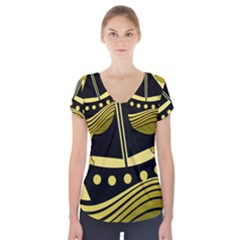 Boat   Yellow Short Sleeve Front Detail Top