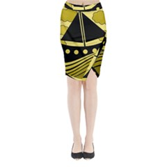 Boat - yellow Midi Wrap Pencil Skirt