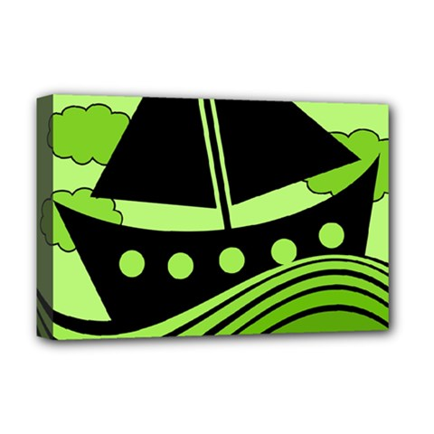 Boat - green Deluxe Canvas 18  x 12