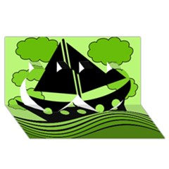 Boat - green Twin Hearts 3D Greeting Card (8x4)