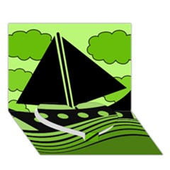 Boat - green Heart Bottom 3D Greeting Card (7x5)
