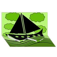 Boat - green Twin Heart Bottom 3D Greeting Card (8x4)