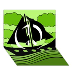 Boat - green Peace Sign 3D Greeting Card (7x5)