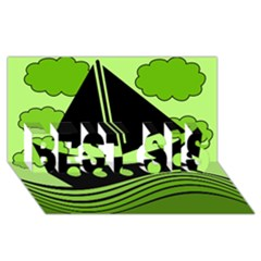 Boat - green BEST SIS 3D Greeting Card (8x4)