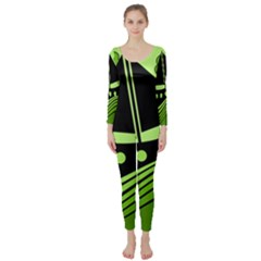 Boat - green Long Sleeve Catsuit
