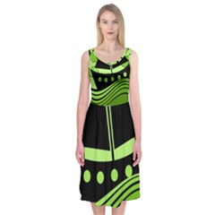 Boat   Green Midi Sleeveless Dress