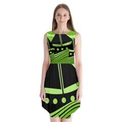 Boat   Green Sleeveless Chiffon Dress