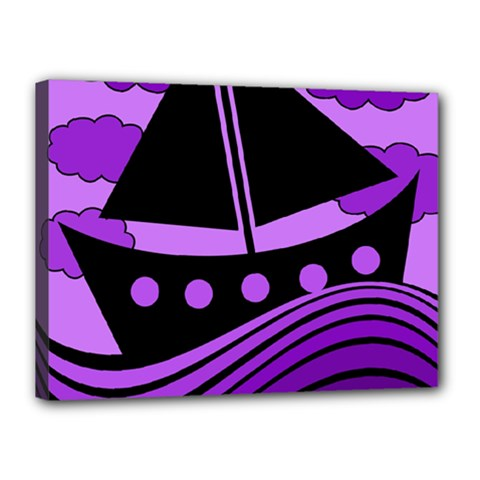 Boat - purple Canvas 16  x 12