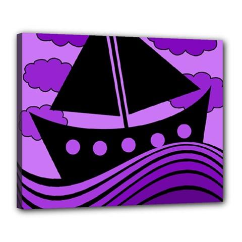 Boat - purple Canvas 20  x 16