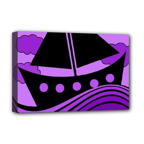 Boat - purple Deluxe Canvas 18  x 12