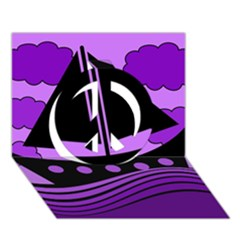 Boat - purple Peace Sign 3D Greeting Card (7x5)