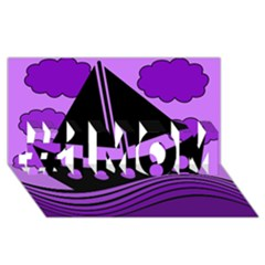 Boat - purple #1 MOM 3D Greeting Cards (8x4)