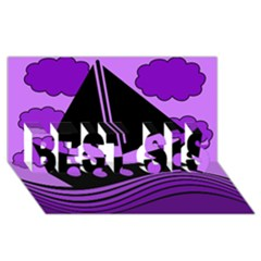 Boat - purple BEST SIS 3D Greeting Card (8x4)