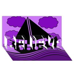 Boat - purple BELIEVE 3D Greeting Card (8x4)