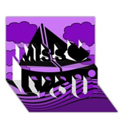 Boat - purple Miss You 3D Greeting Card (7x5)