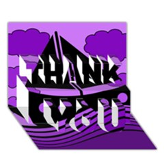 Boat - purple THANK YOU 3D Greeting Card (7x5)