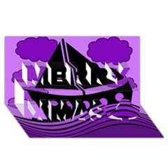 Boat - purple Merry Xmas 3D Greeting Card (8x4)