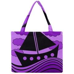Boat - purple Mini Tote Bag
