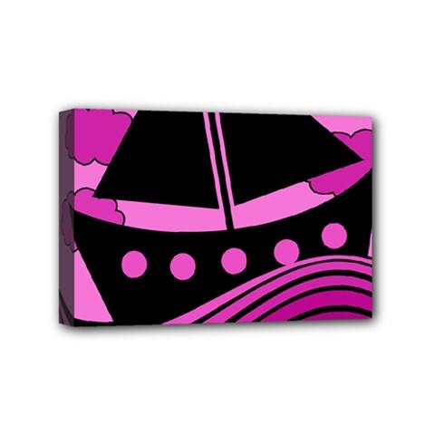 Boat - magenta Mini Canvas 6  x 4