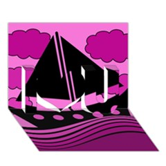 Boat - magenta I Love You 3D Greeting Card (7x5)